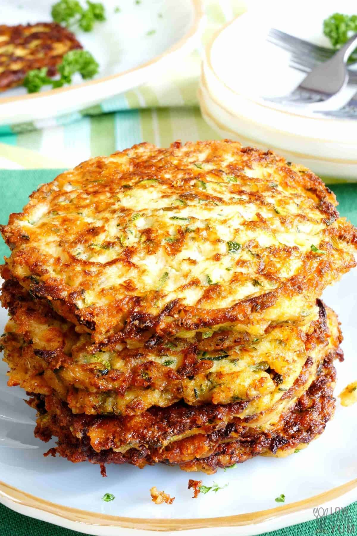 stack of gluten free zucchini fritters from keto recipe
