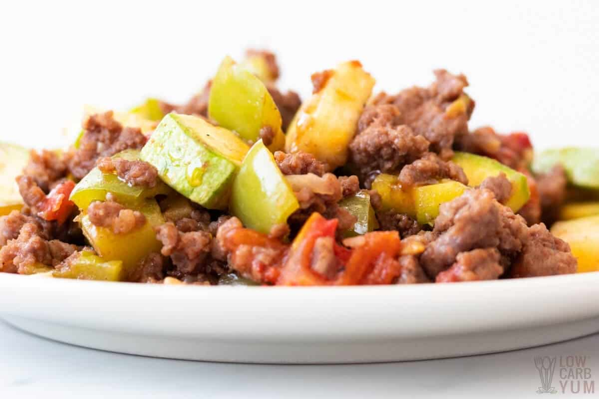 ground beef and squash on plate