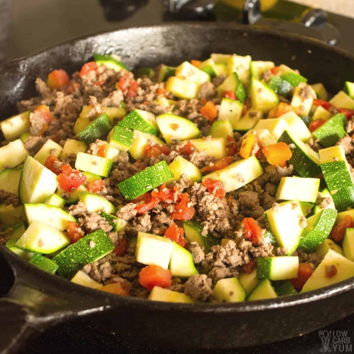 Mexican Zucchini And Ground Beef Skillet Low Carb Yum