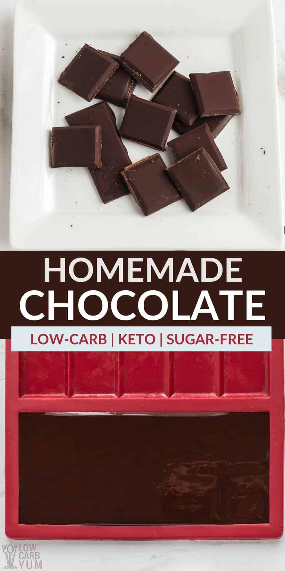homemade keto chocolate bars pinterest image