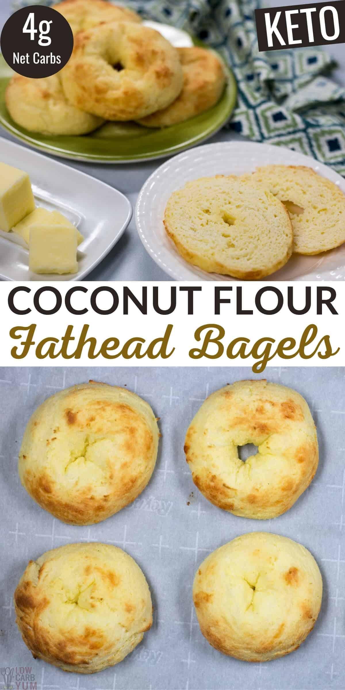 keto coconut flour fathead bagels pinterest image