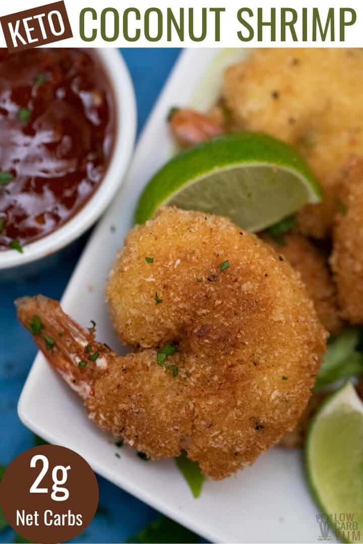 gluten free keto coconut shrimp pinterest image