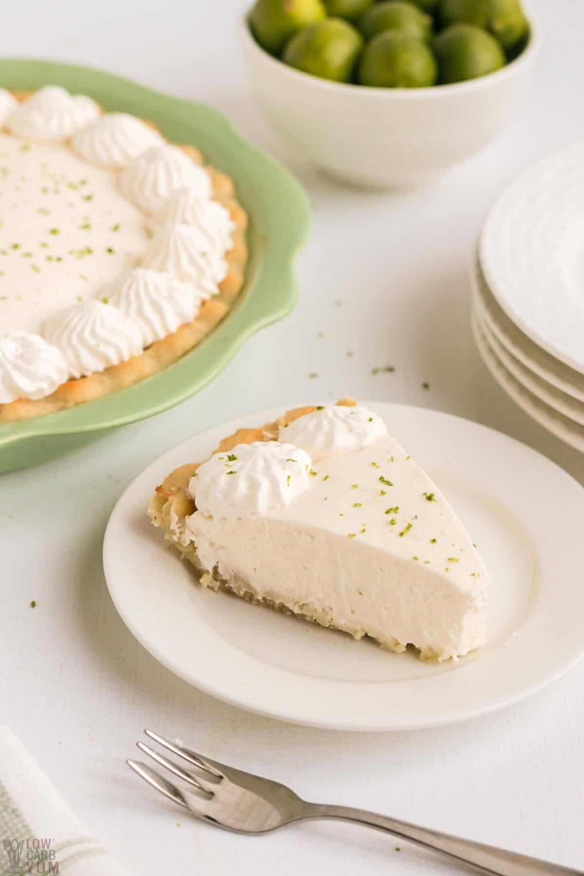 slice of keto low carb key lime pie on white plate