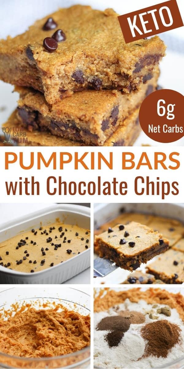 keto pumpkin bars with chocolate chips