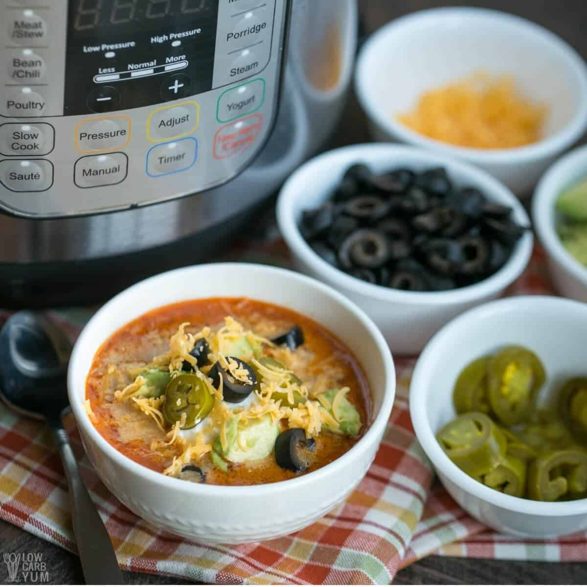 keto taco soup made in instant pot with toppings