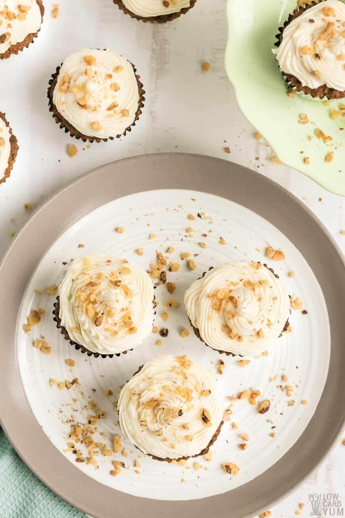 keto zucchini bread muffins with cream cheese and walnuts