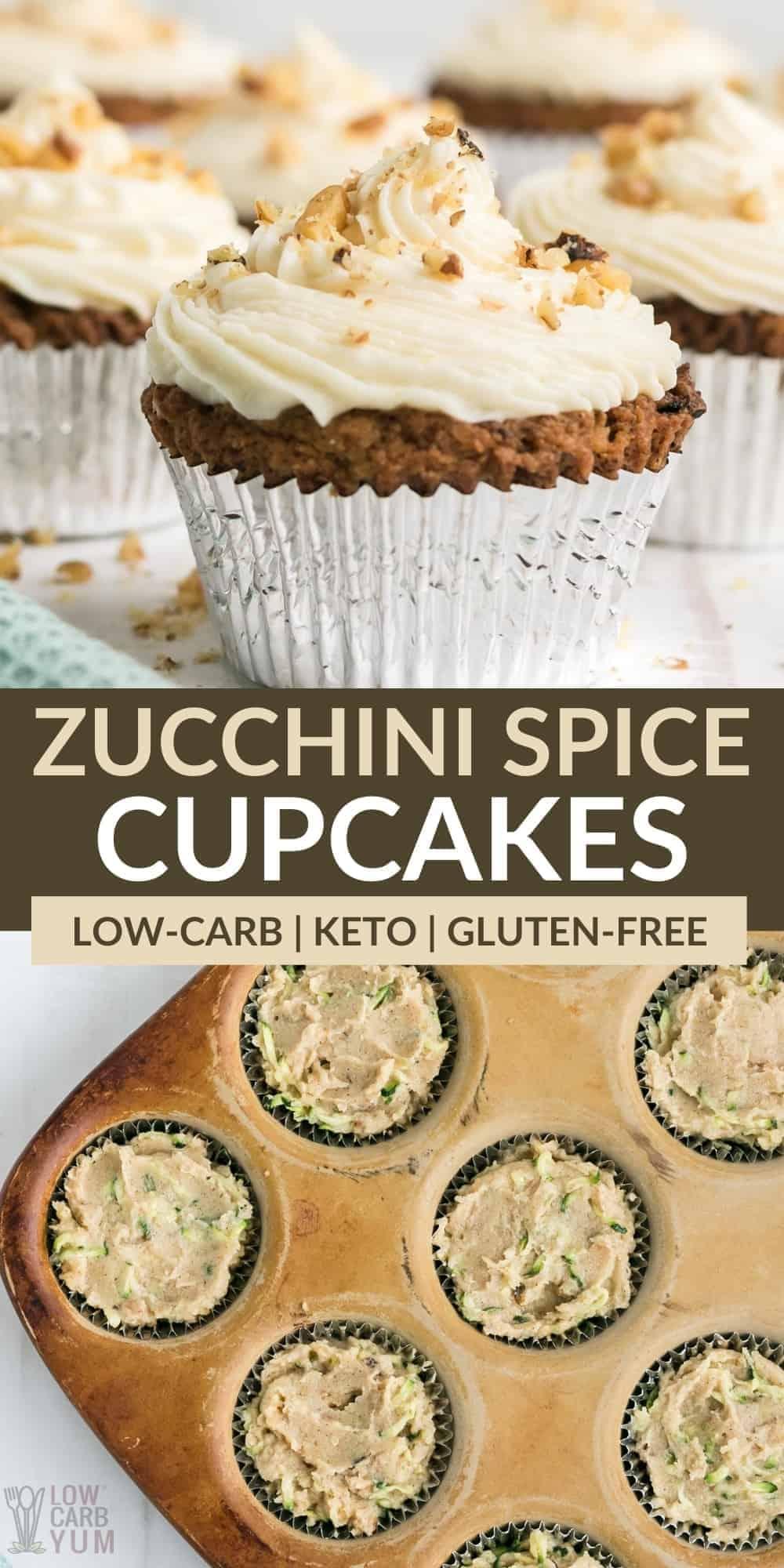 keto zucchini spice cake cupcakes pinterest image