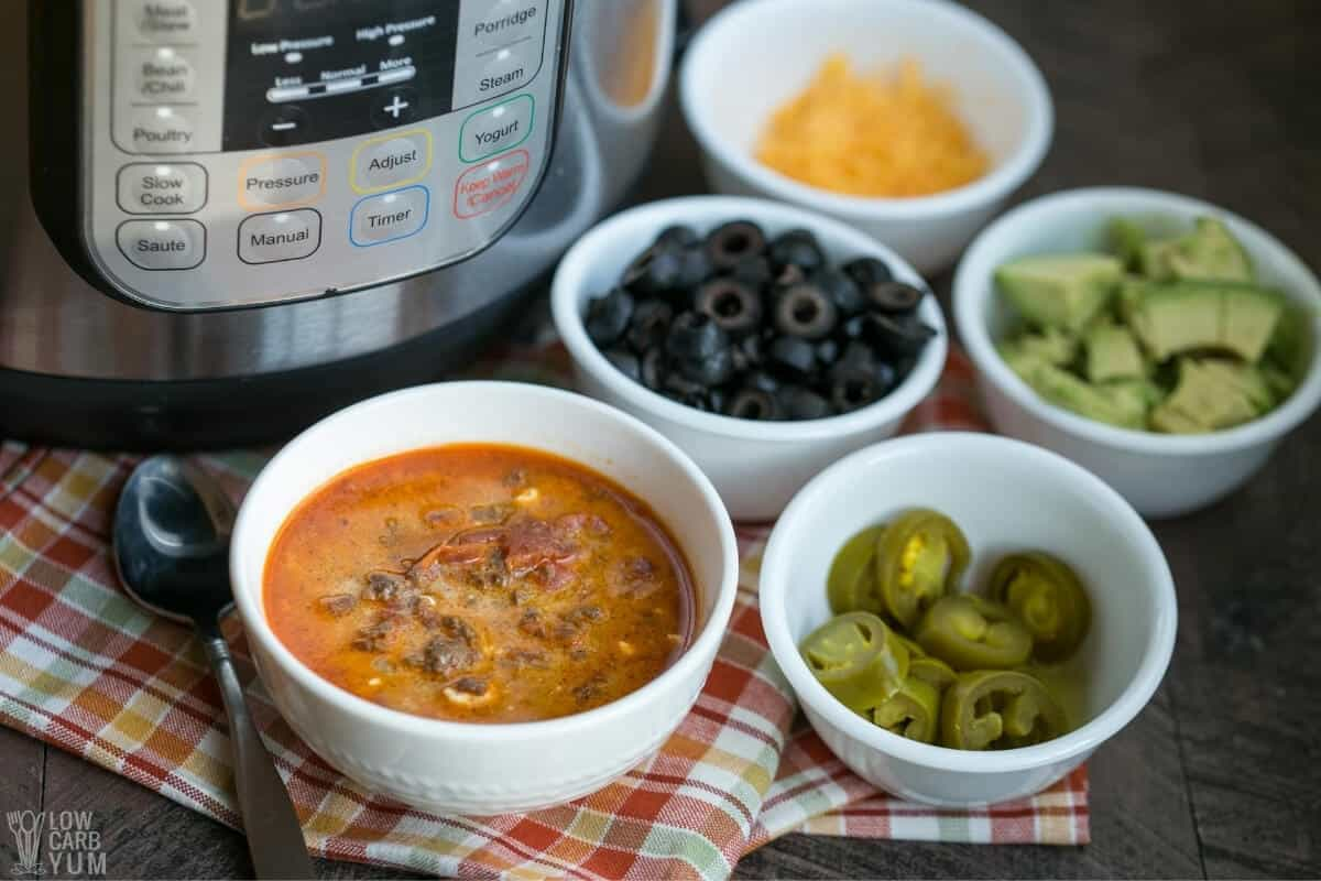 low carb taco soup with instant pot and toppings
