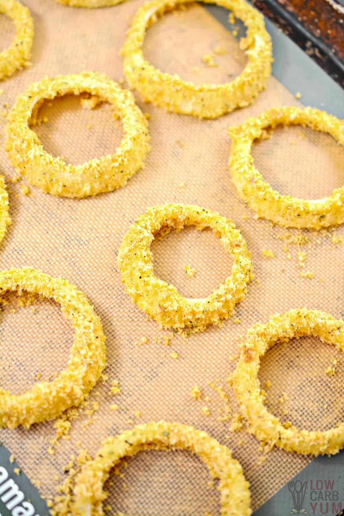 prepped onion rings on baking sheet