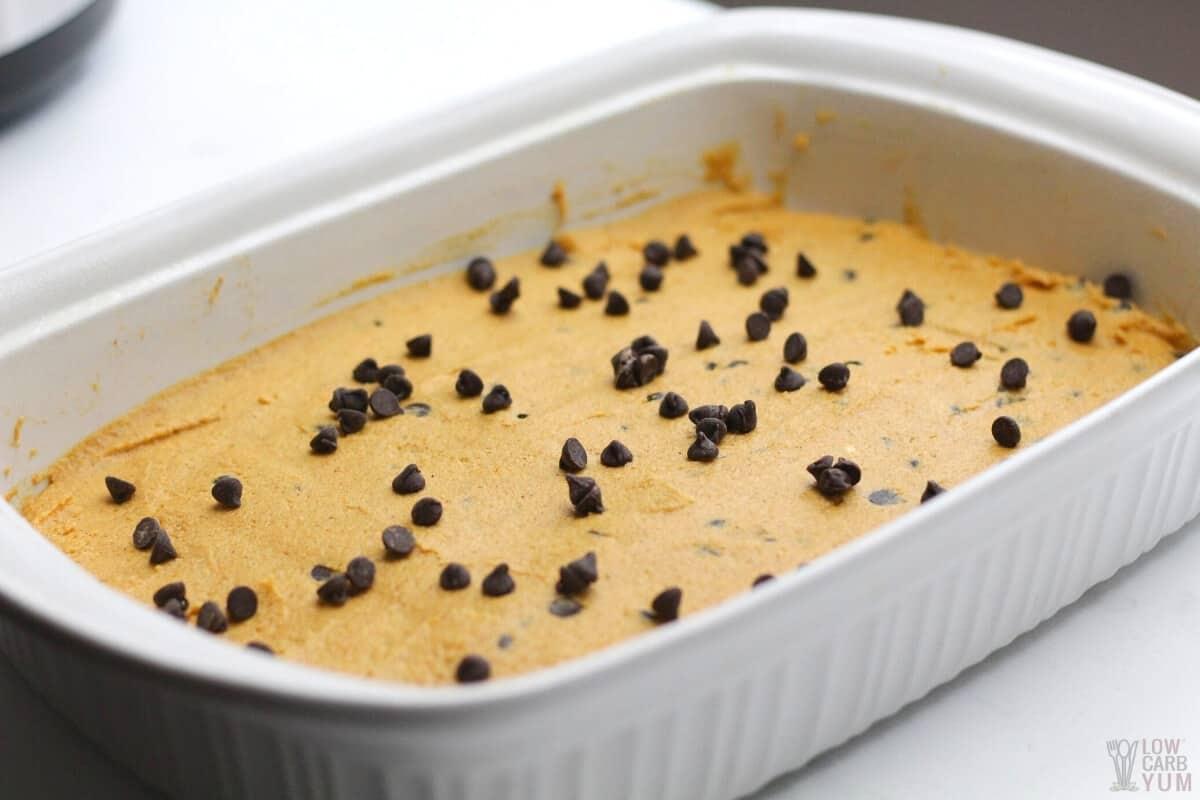 pumpkin bar chocolate chip batter in pan