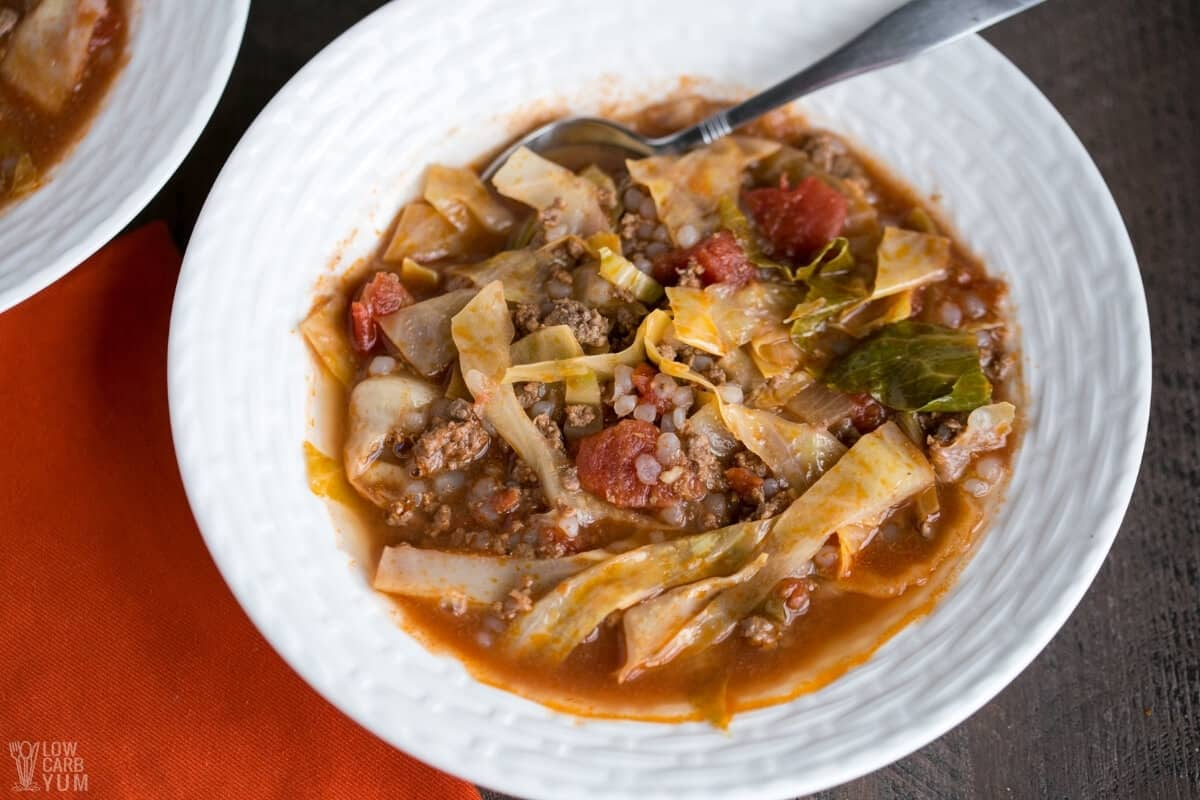 unstuffed cabbage soup in white bowl