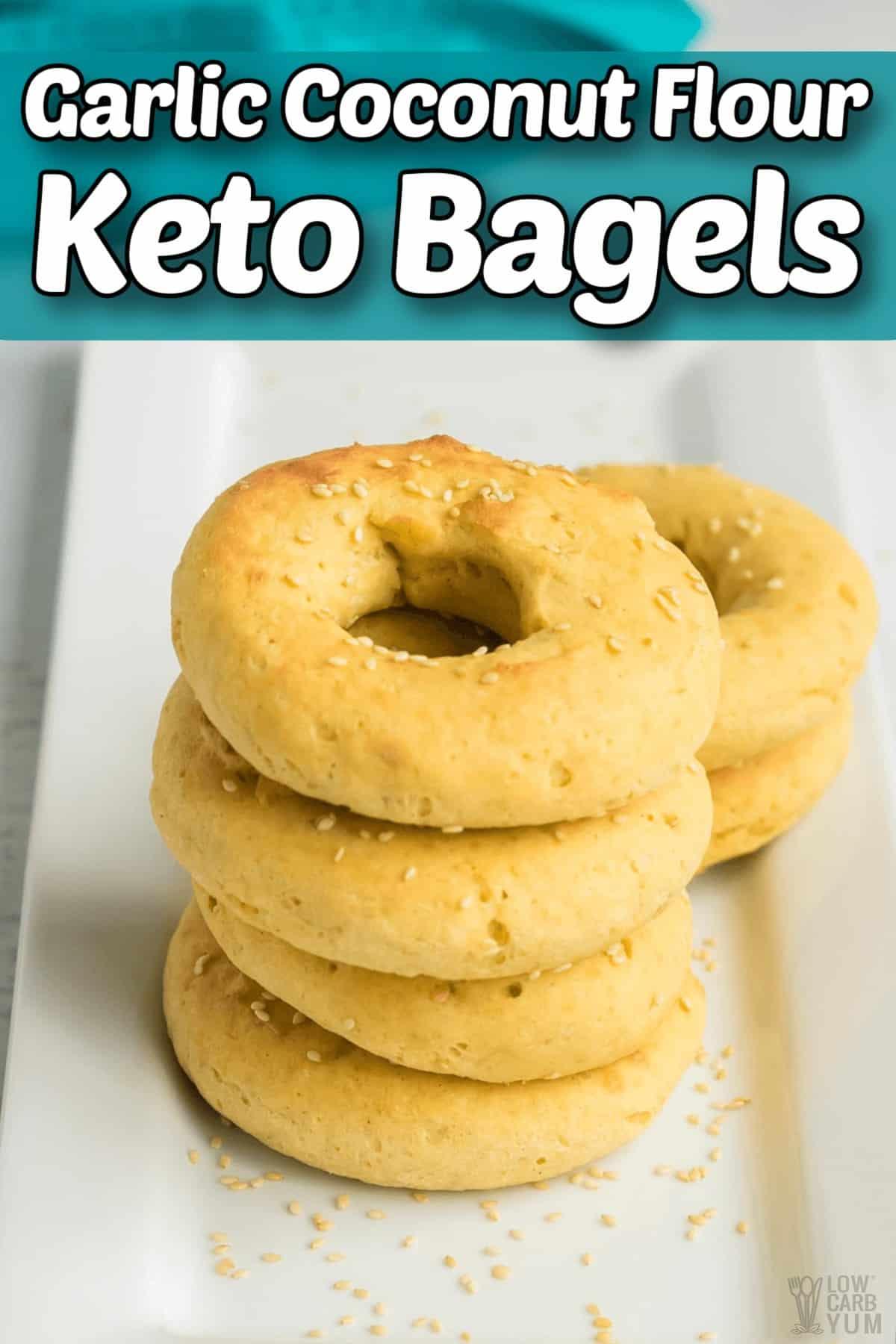 garlic coconut flour keto bagels pintrest image