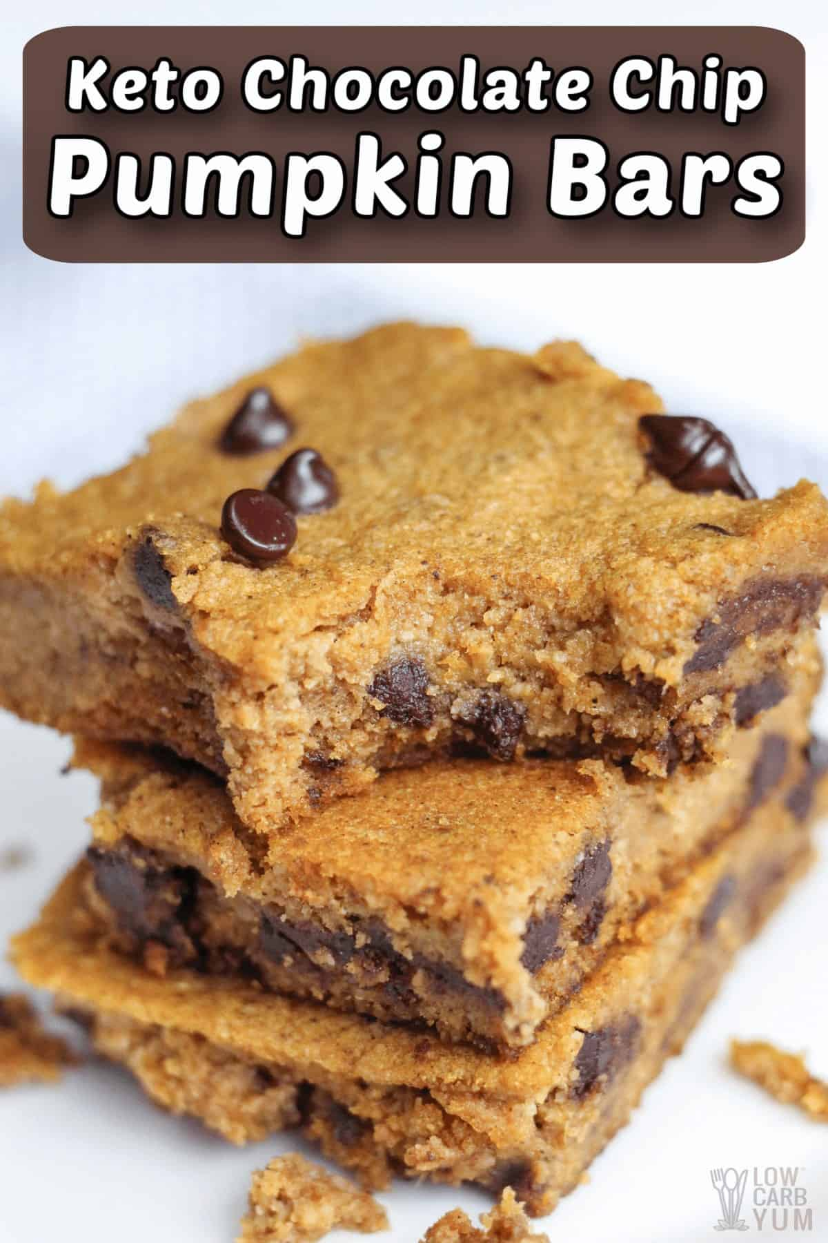 keto pumpkin bars with chocolate chips pintrest image