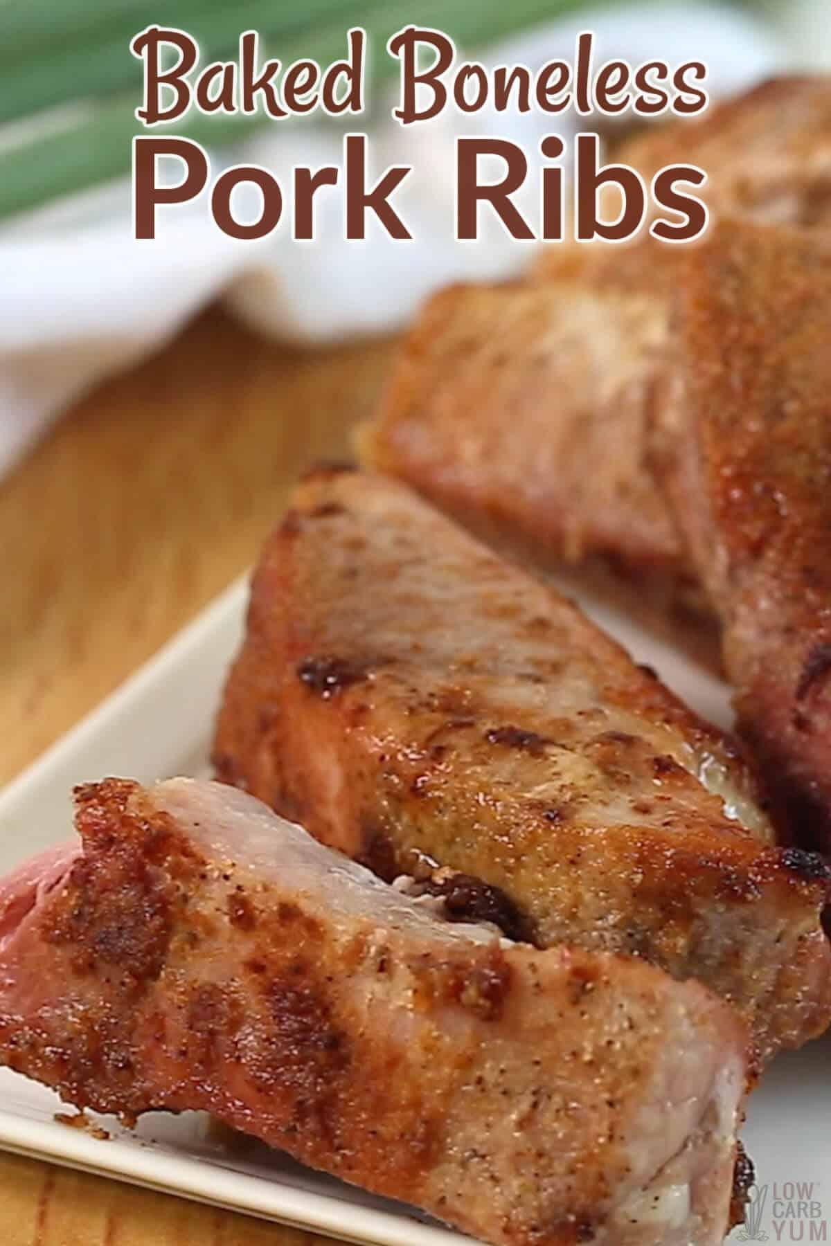 baked boneless pork ribs pinterest image