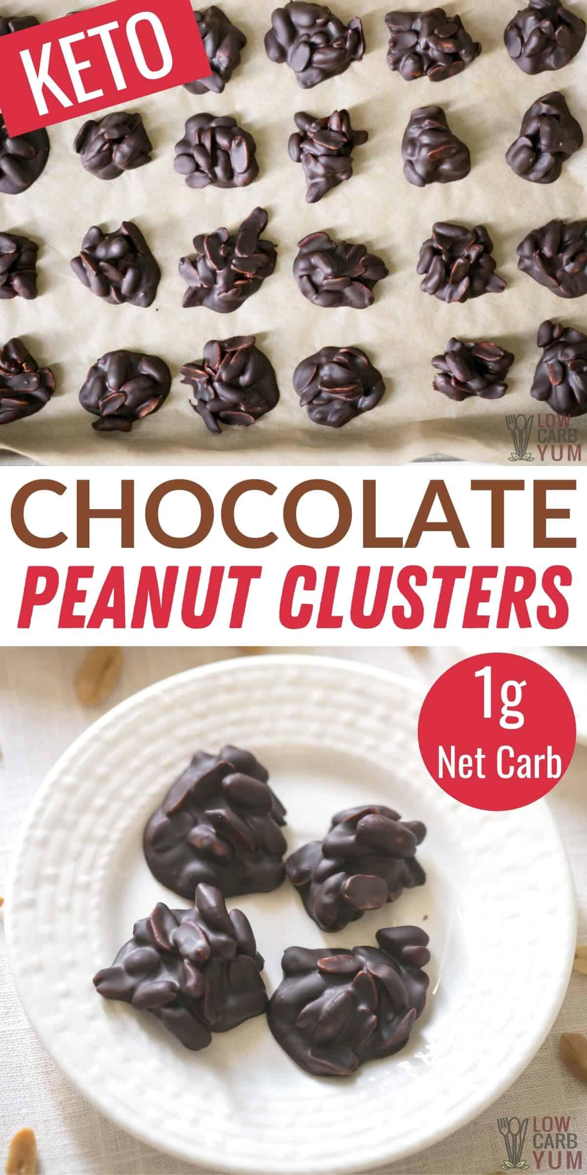 chocolate peanut clusters pinterest image
