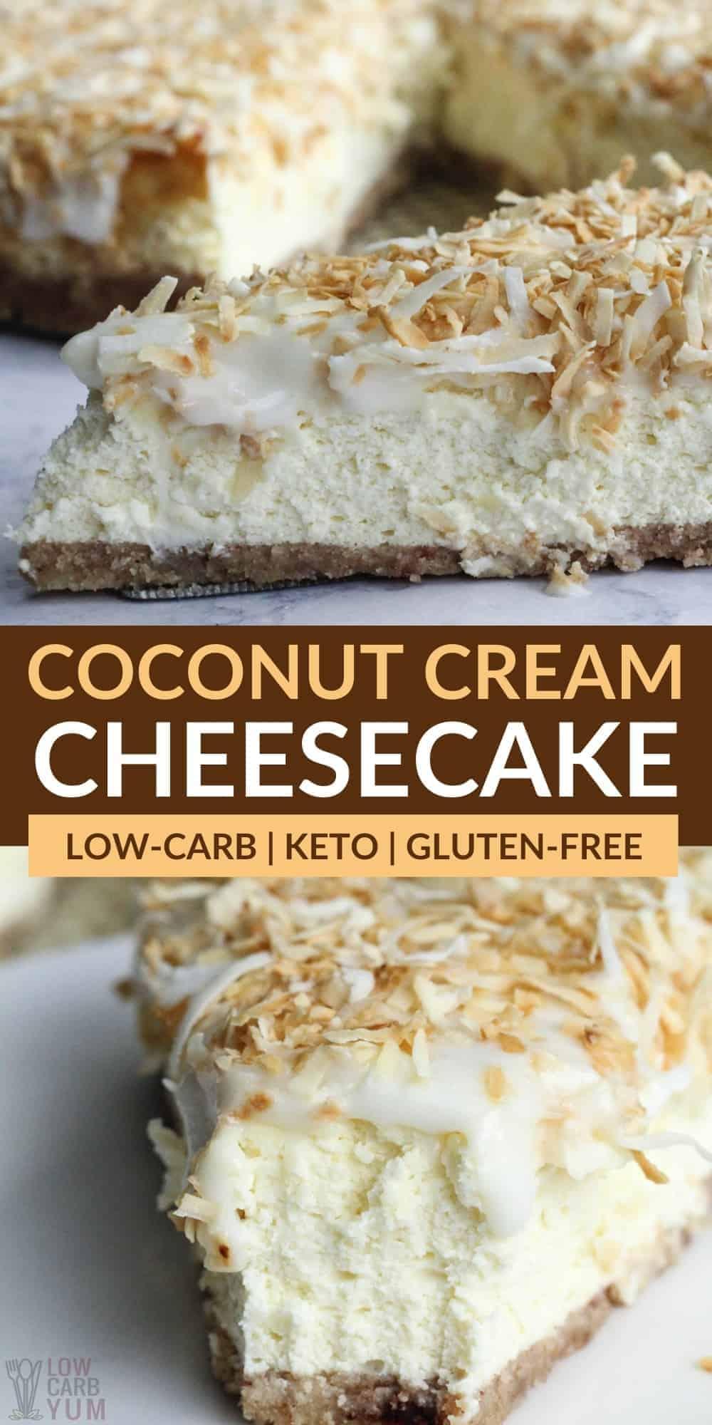 keto coconut cream cheesecake pinterest image