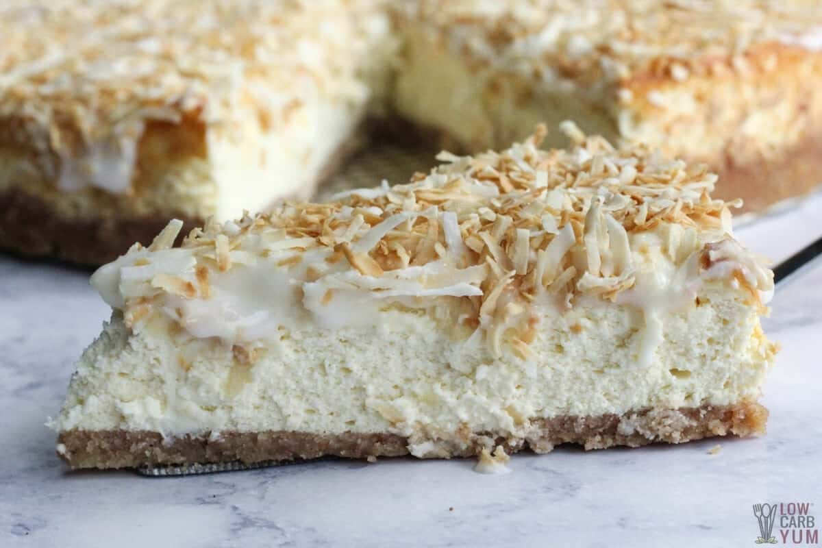 coconut cream cheesecake slice
