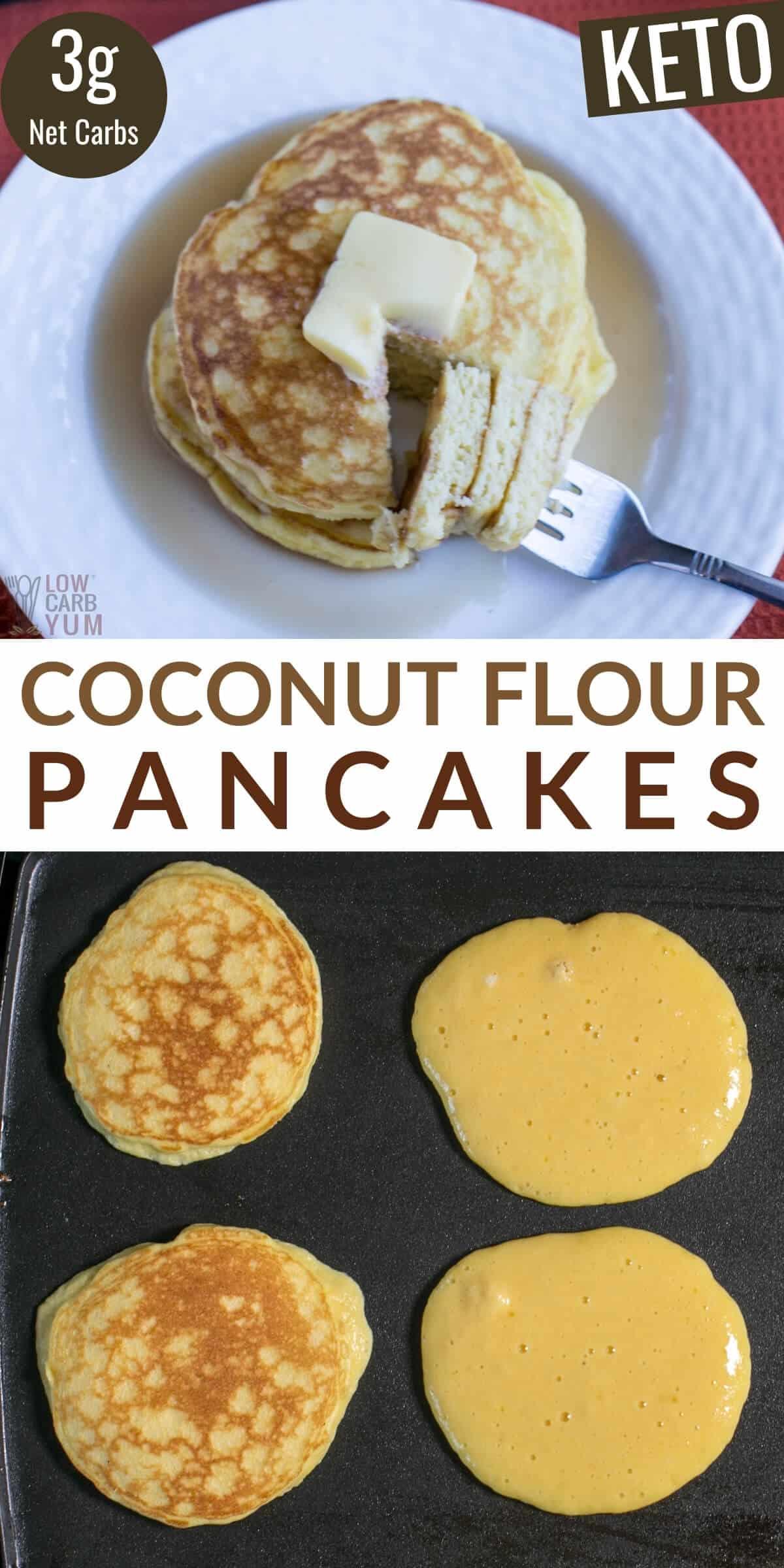 coconut flour pancakes pinterest image