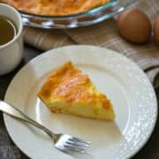 crustless ketogenic cheese quiche slice on white plate