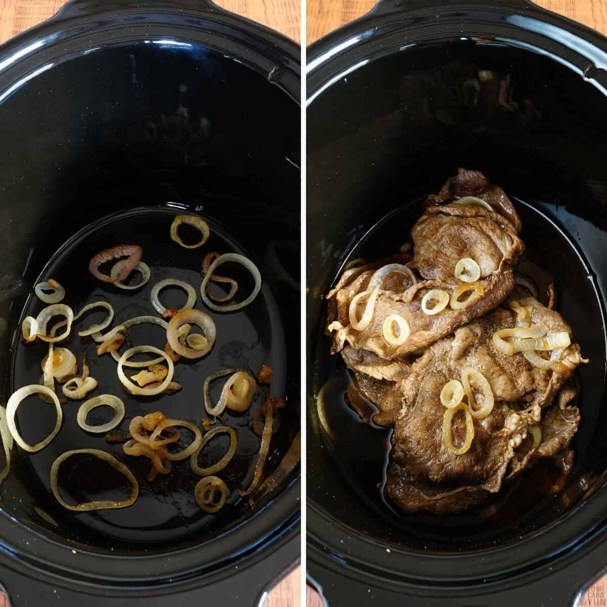 slow cooker preparation for Filipino beef steaks