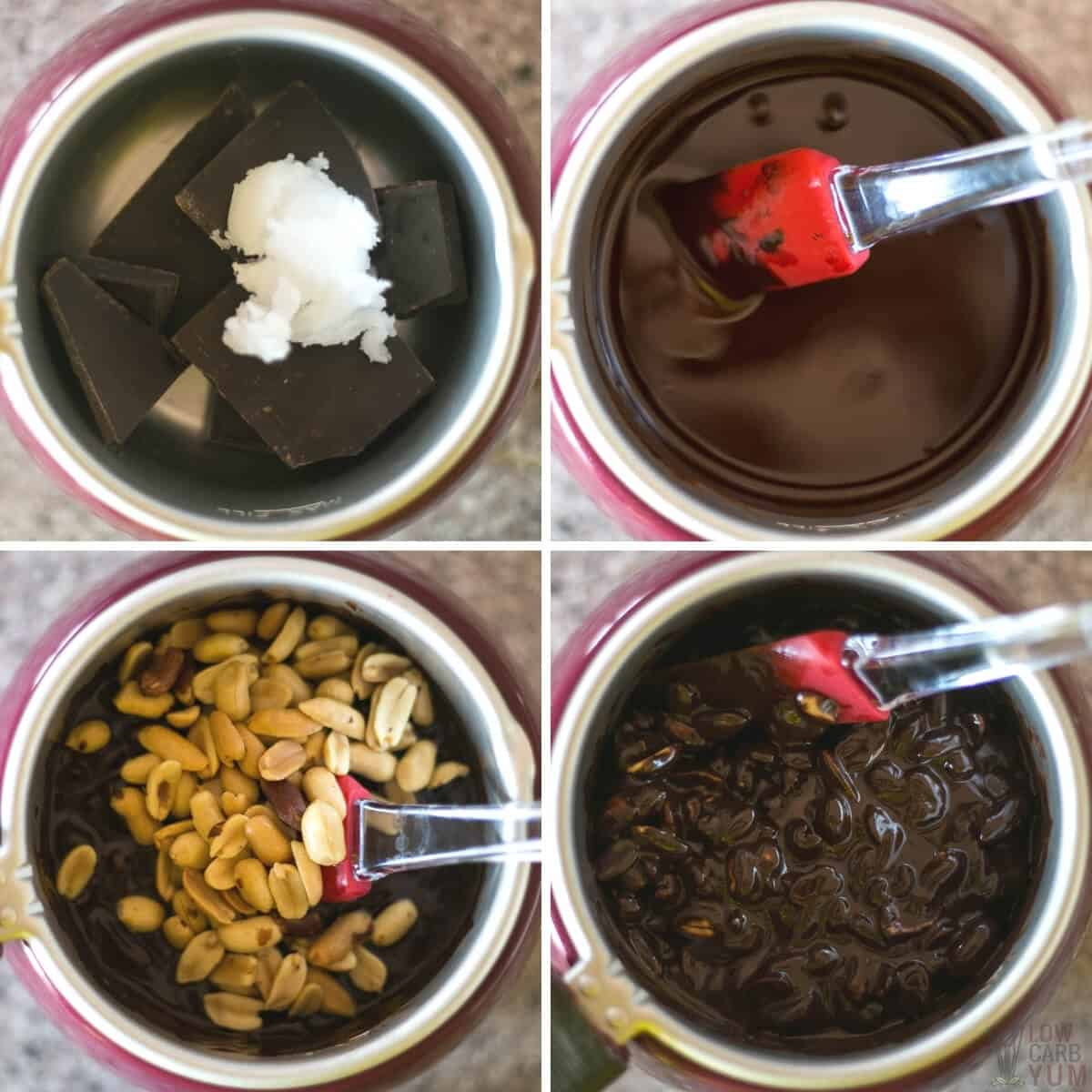 combining ingredients in a chocolate melter