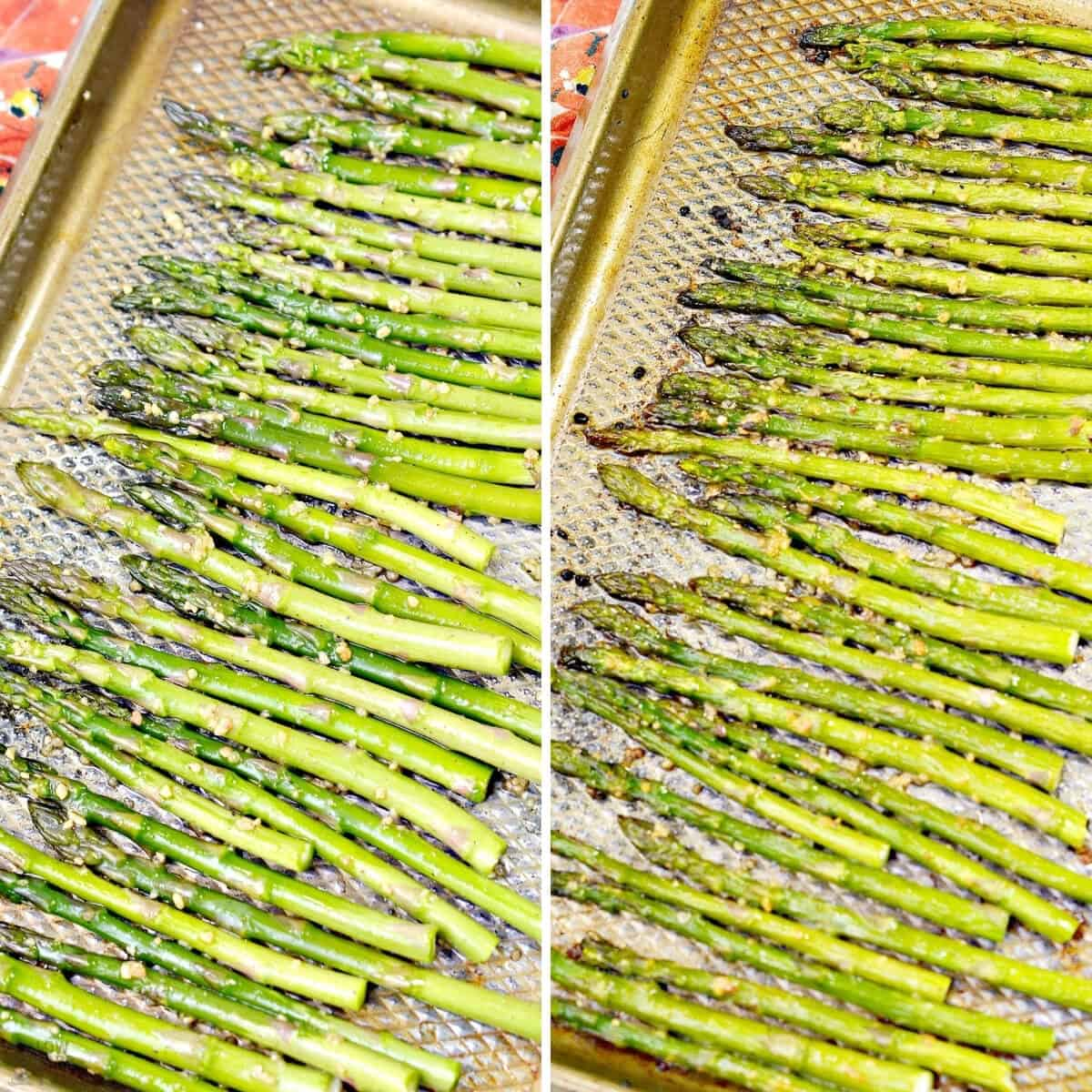 garlic roasted asparagus before and after baking