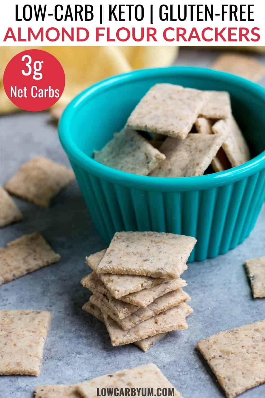 keto almond flour crackers pinterest image