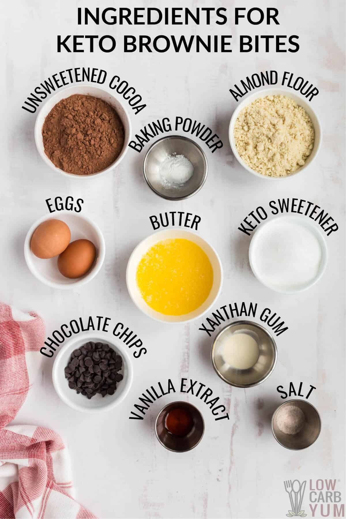 ingredients used to make almond flour brownie bites