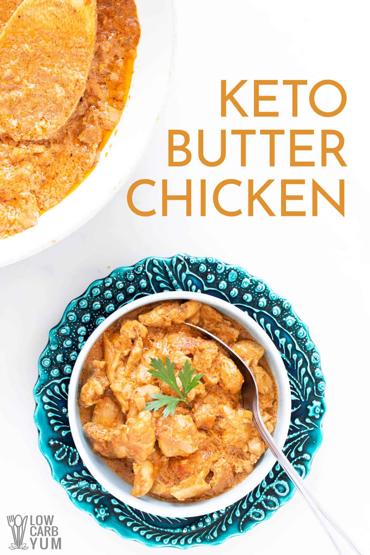 keto butter chicken in blue serving bowl pinterest image