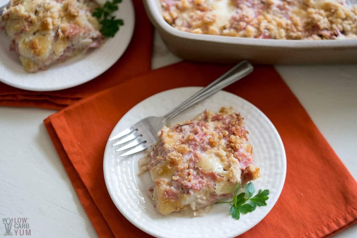 keto chicken cordon bleu casserole slice on white plate