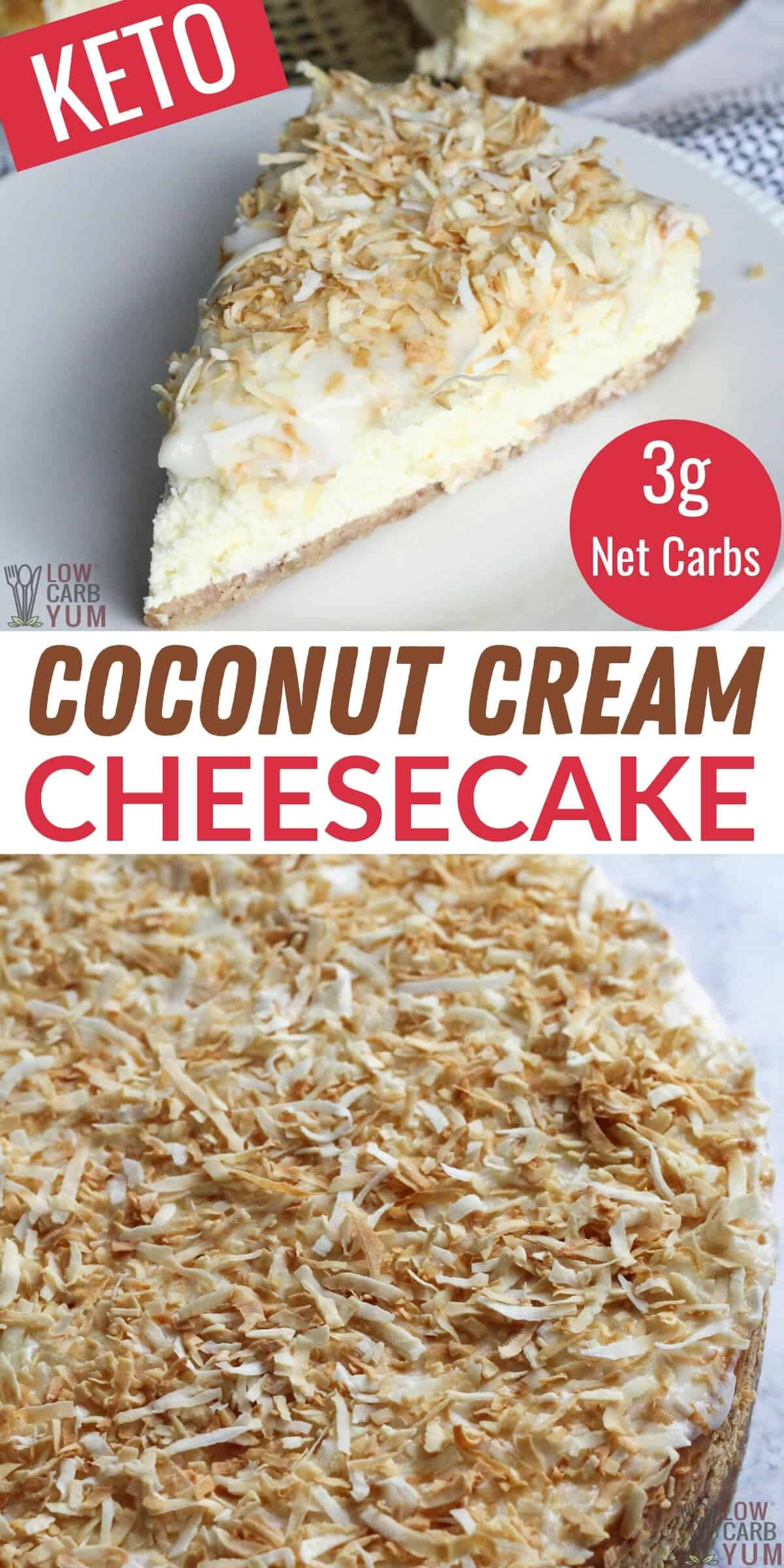 keto coconut cream cheesecake pinterest image