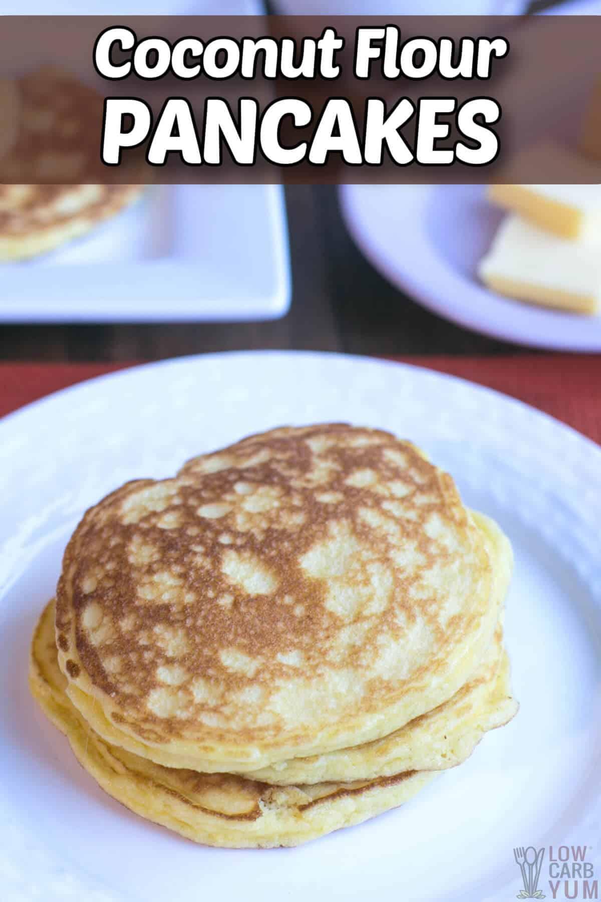 keto coconut flour pancakes recipe pinterest image