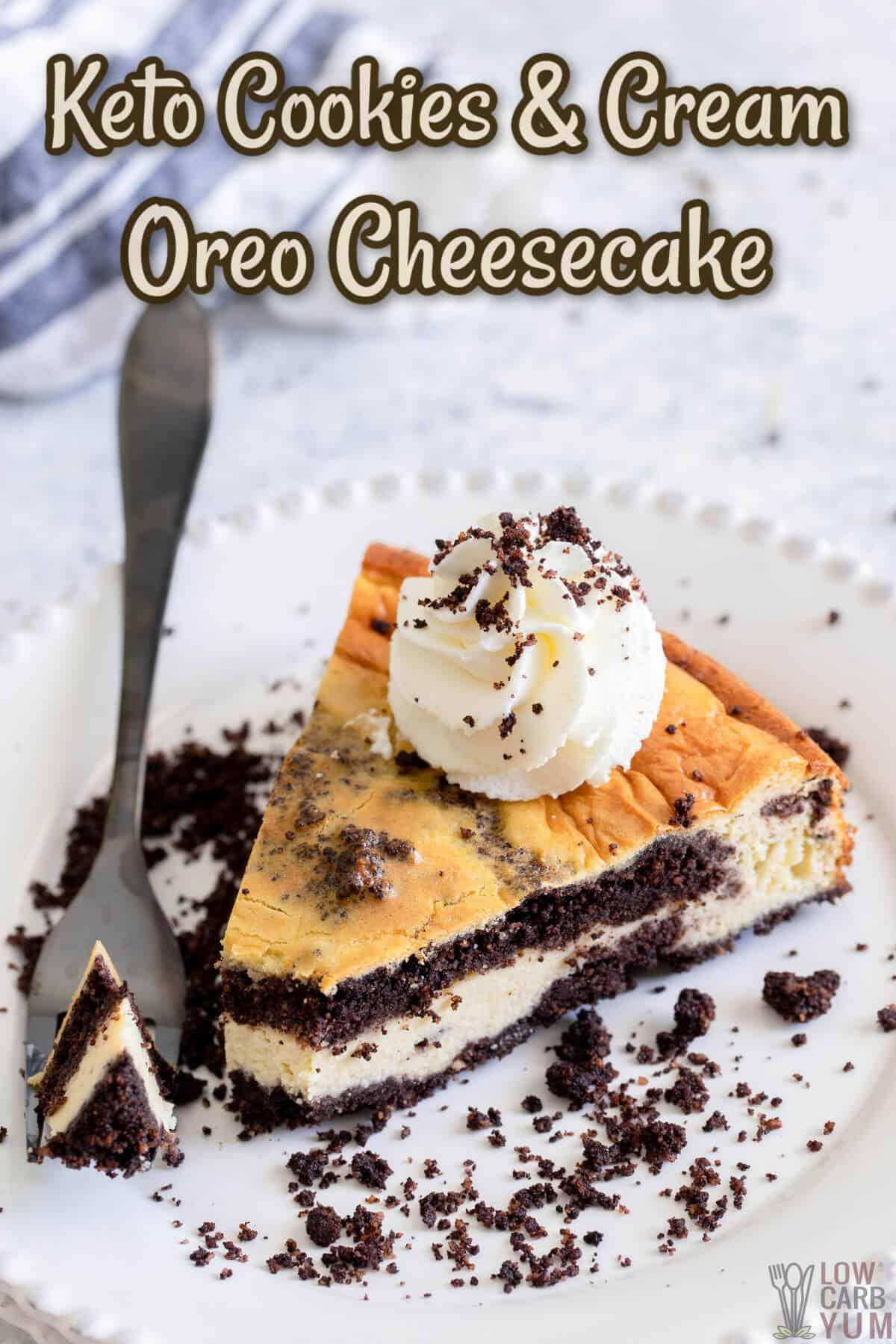 keto cookies and cream oreo cheesecake recipe cover image