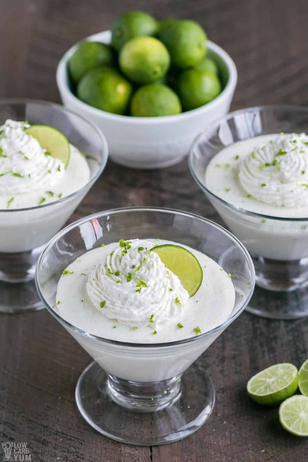 key lime mousse in glass dessert dishes