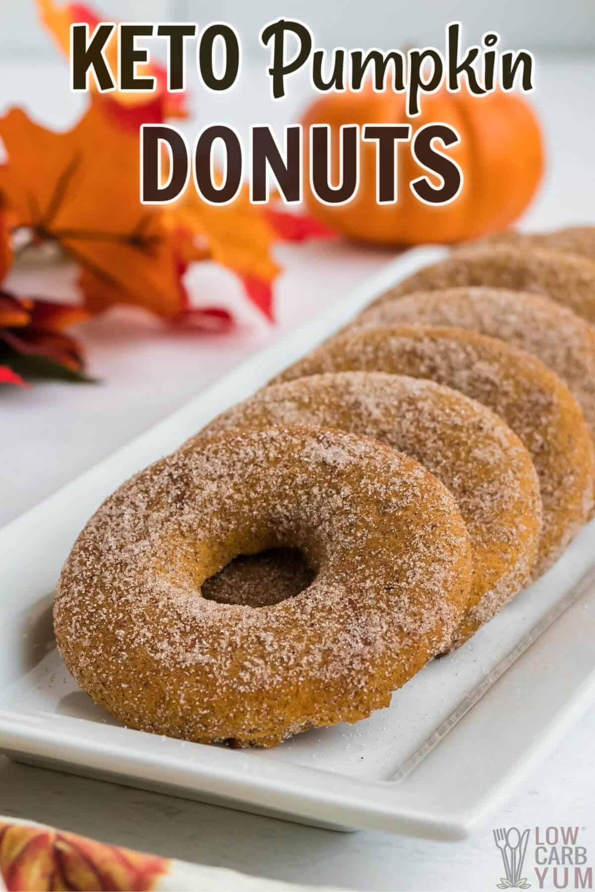keto pumpkin donuts on rectangular white plate