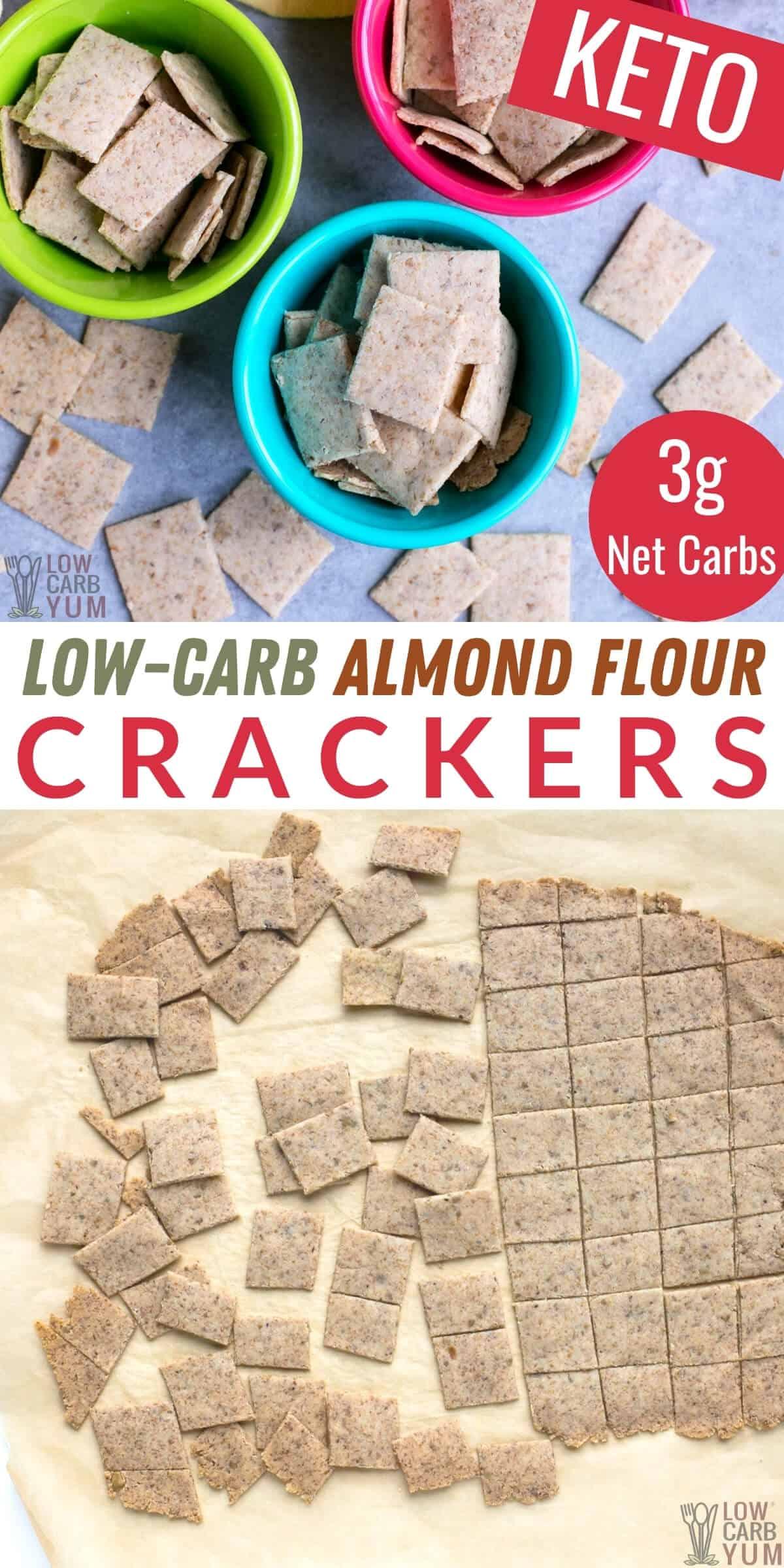 low carb almond flour crackers pinterest image
