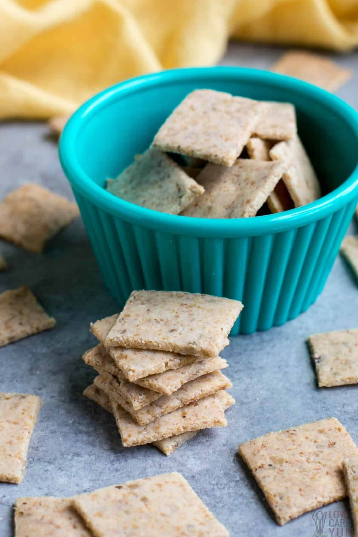 stack of almond flour low carb keto crackers