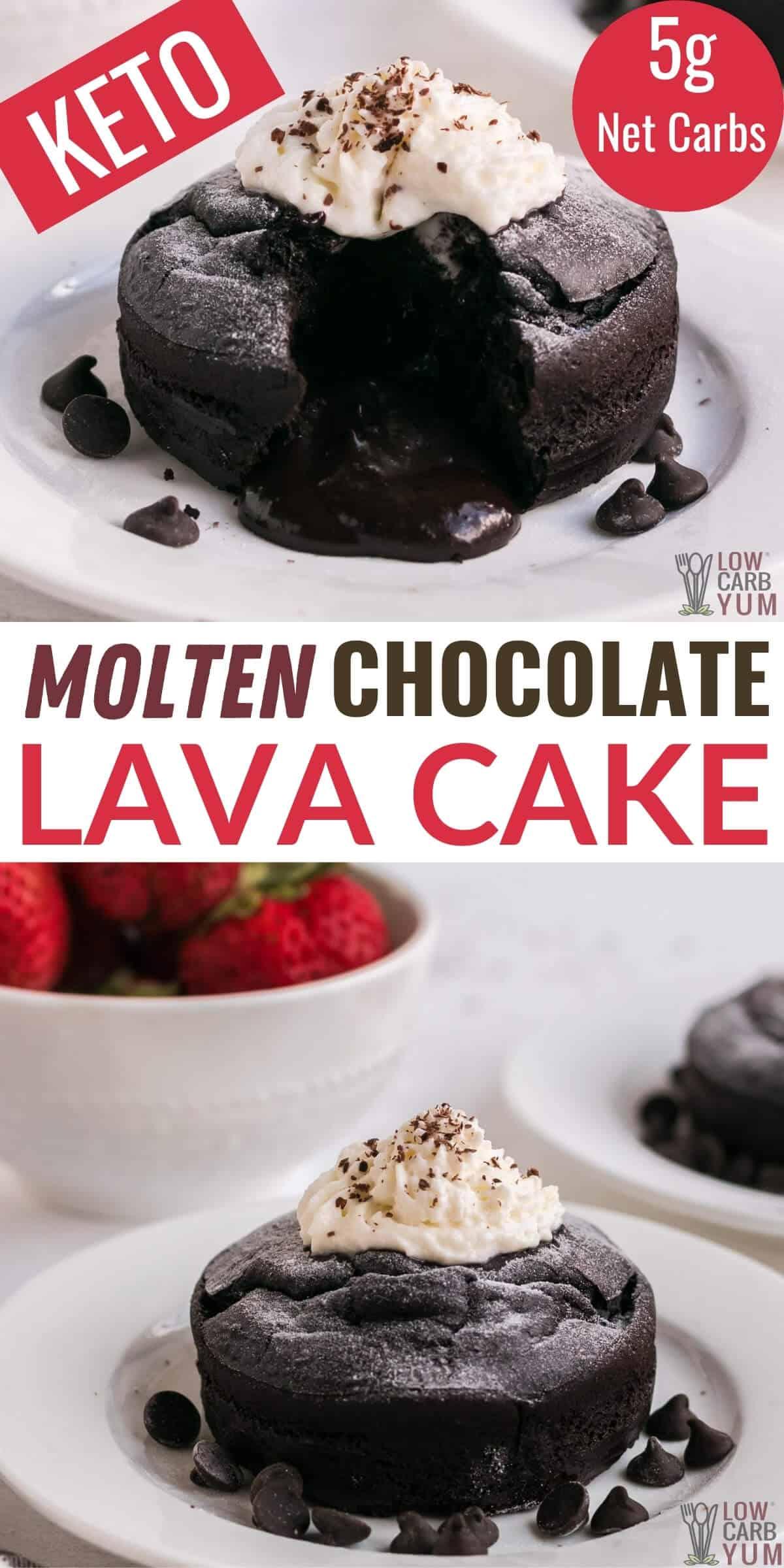 keto molten chocolate lava cake pinterest image
