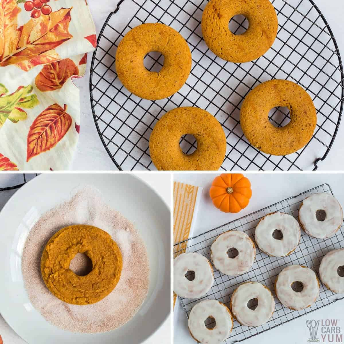 baked pumpkin donuts with cinnamon sugar and glaze