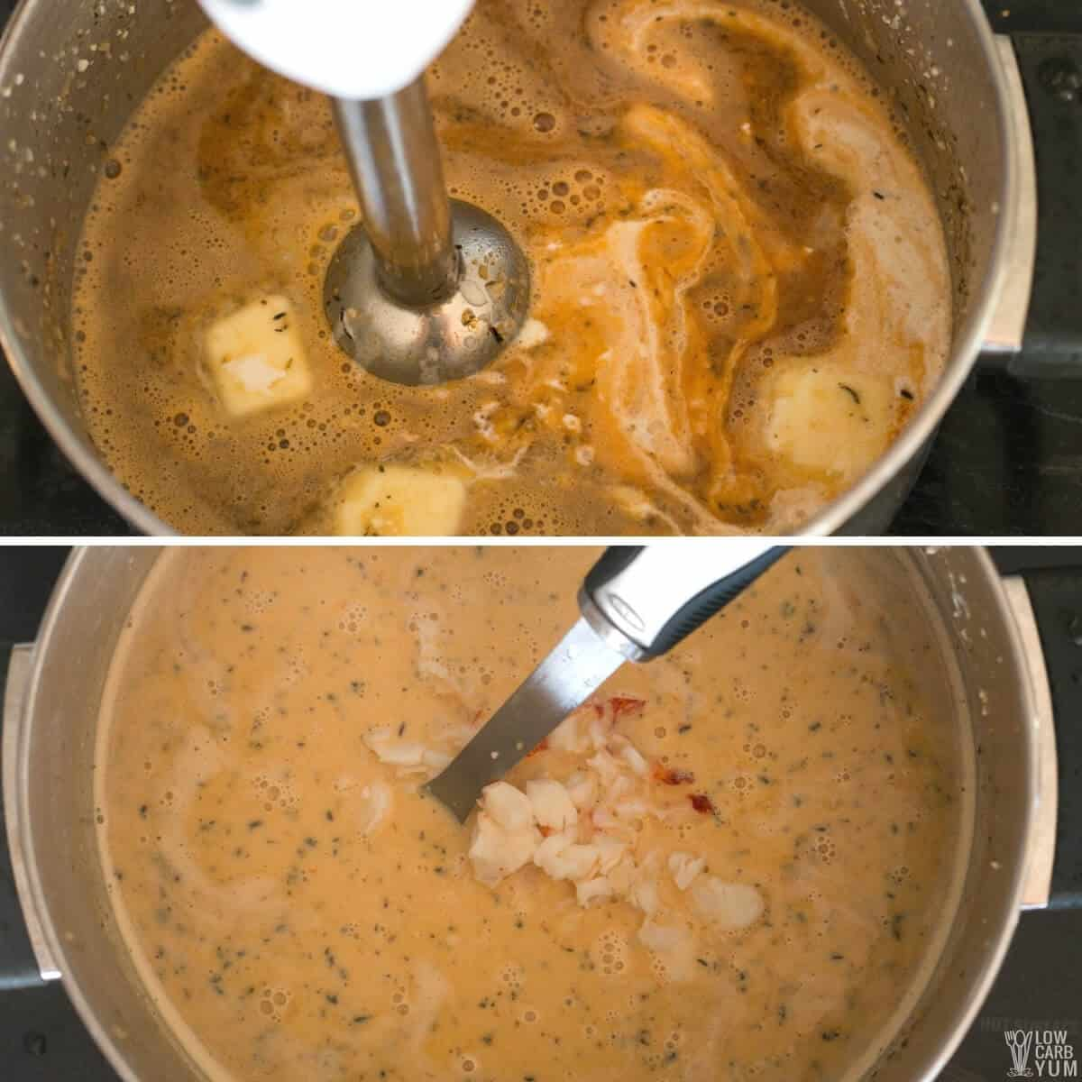 using immersion blender to puree soup before adding lobster meat