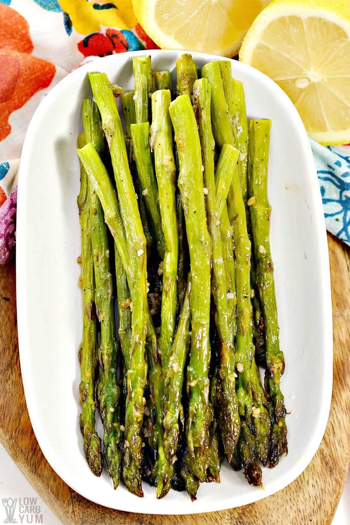 oven roasted asparagus spears on platter