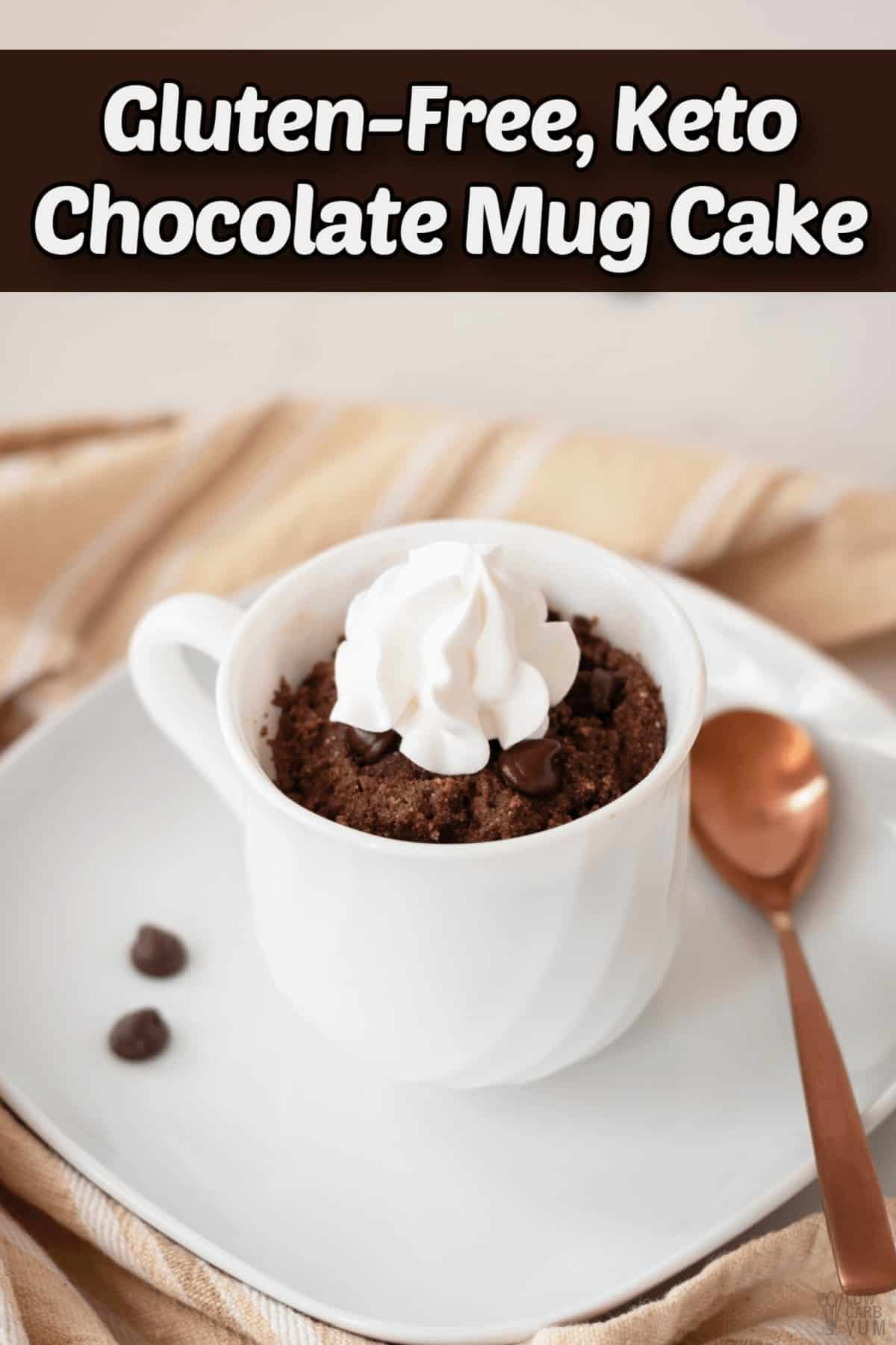 gluten free keto chocolate mug cake recipe pintrest image