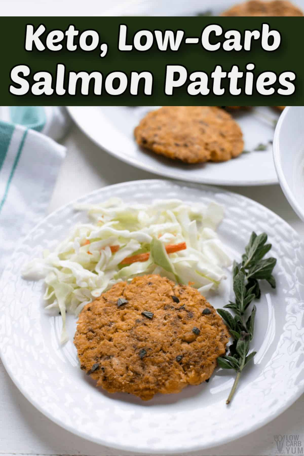 keto salmon patties with canned meat pintrest image