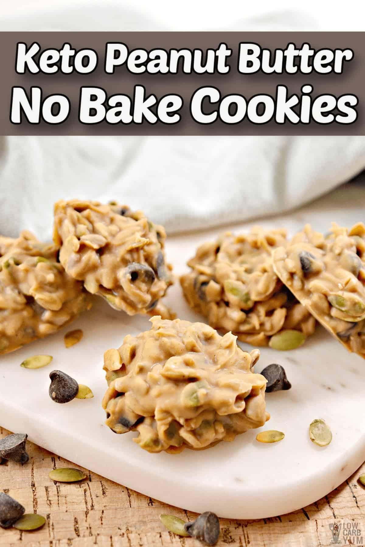 peanut butter no bake cookies pintrest image