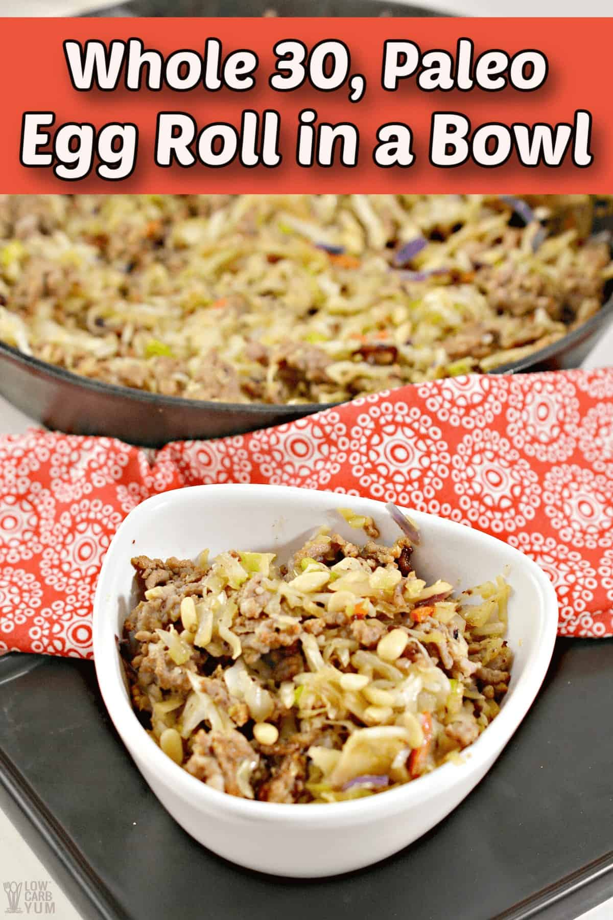 sausage egg roll in a bowl whole30 paleo pintrest image