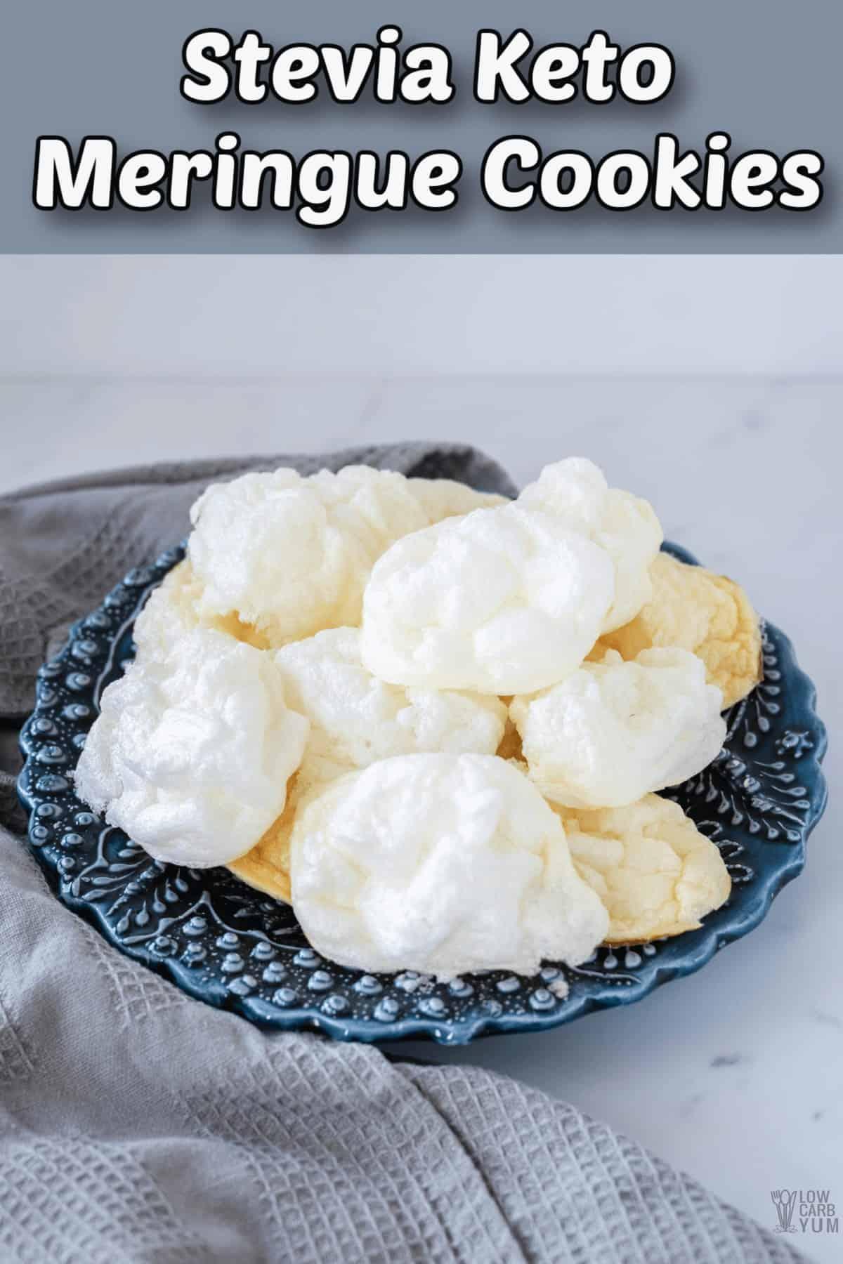 stevia keto meringue cookies pintrest image