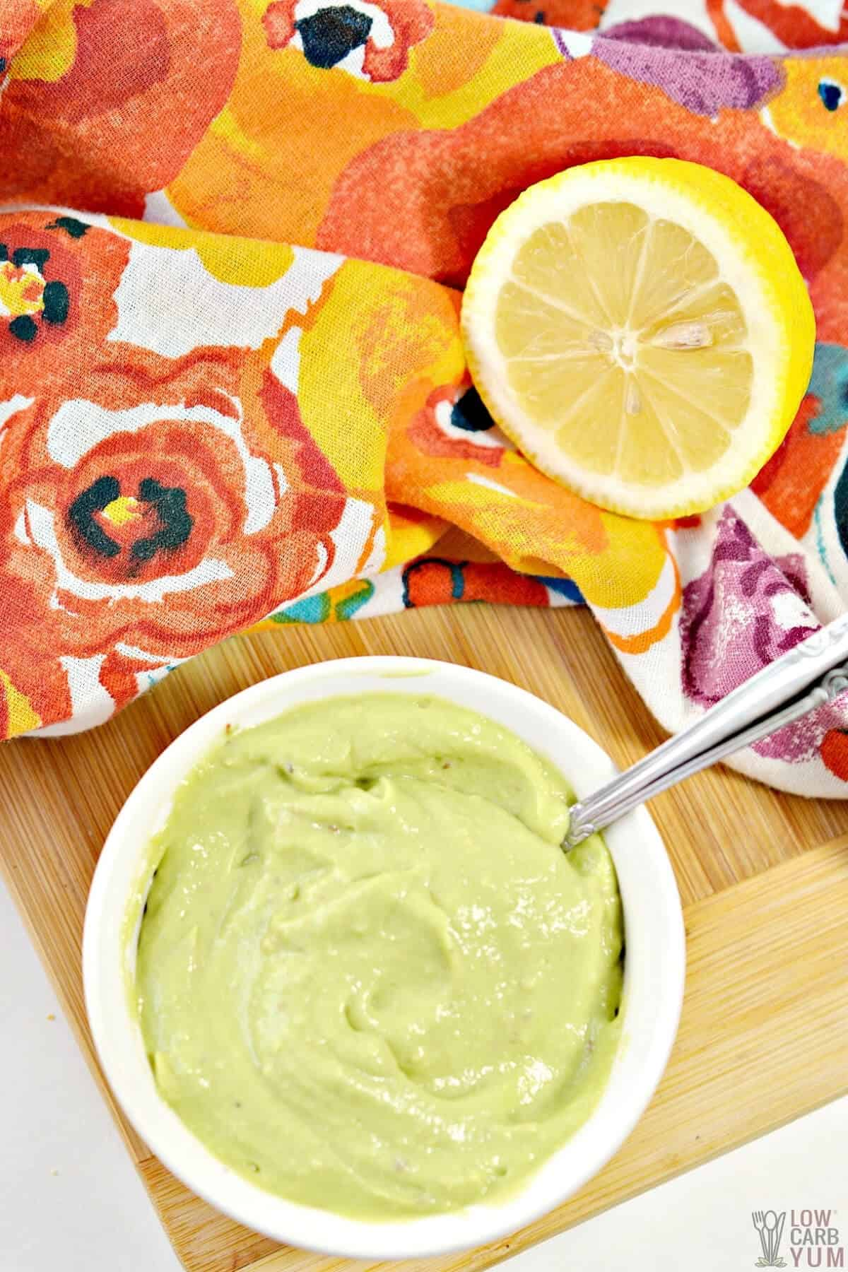 keto mayonnaise made with avocados in a white bowl
