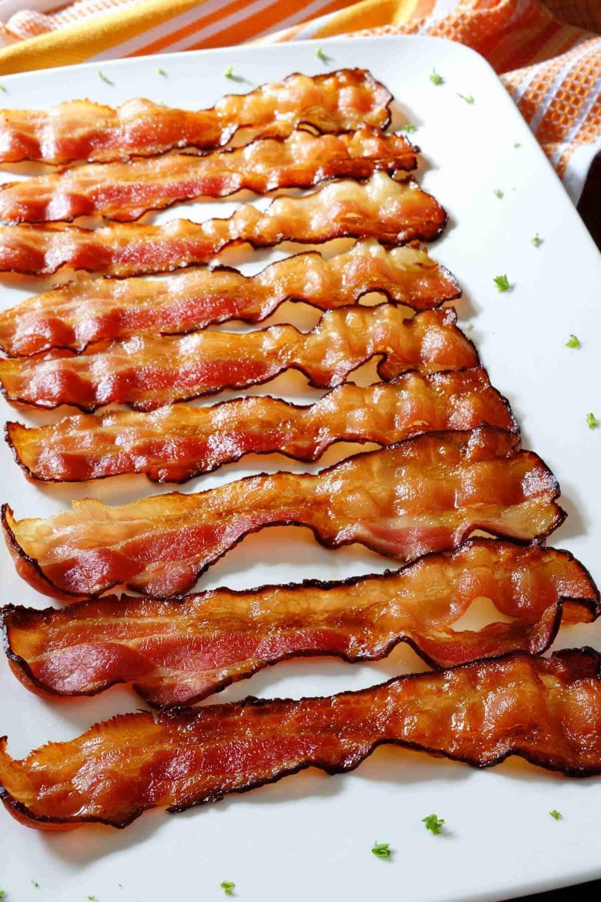 platter of baked crispy bacon