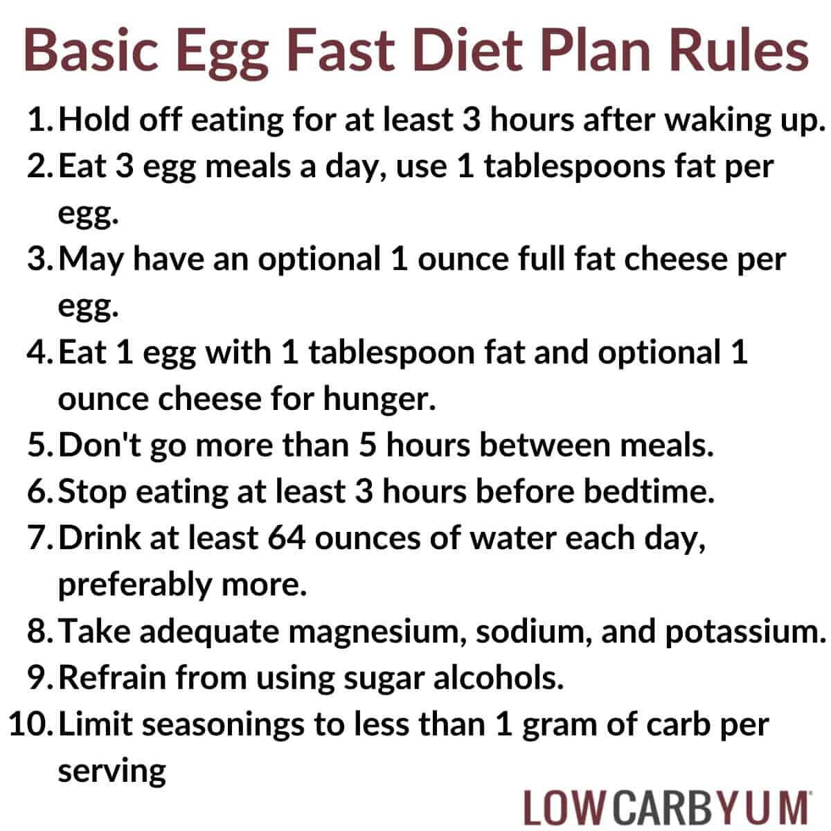 basic egg fast diet rules