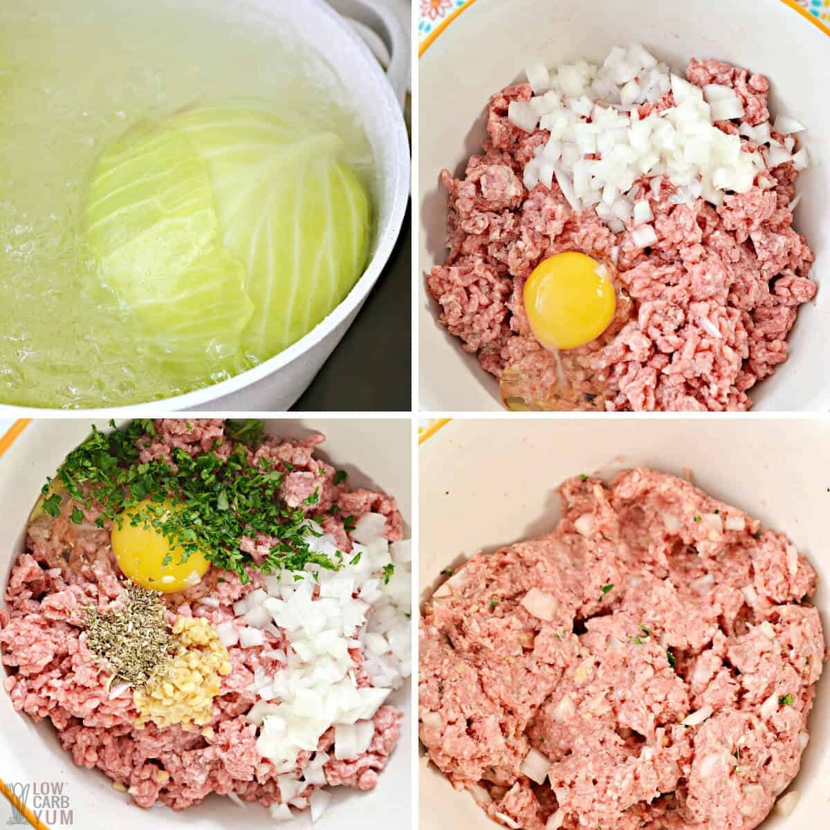 prepping cabbage and making beef filling